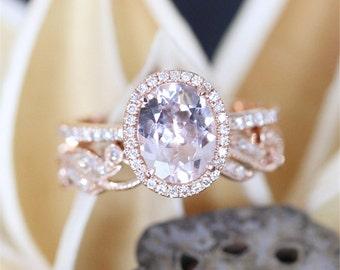 14k rose gold morganite ring set79mm oval cut morganite engagement ring - Morganite Wedding Ring