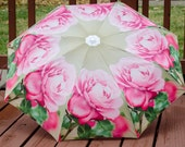 "Custom Designed Umbrella, Featuring my Vintage Rose Photography Print,41"" span,MANUAL Lightweight Umbrella,Flower Print,Rose Photography"