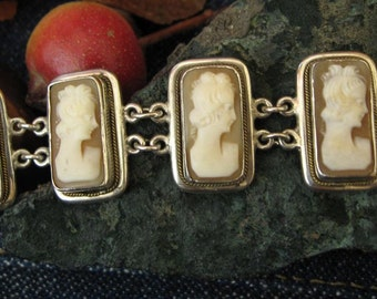 Cameo set silver bracelet