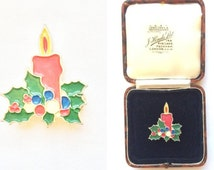 Vintage Brooch - Christmas Enamel Red Candle Green Leaves Green Tone Brooch