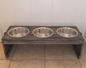 Rustic 3 Bowl Raised Dog Feeder | FREE SHIPPING! (East Coast Additional)