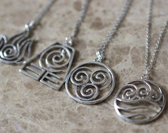 4pcs 4 Nations - Antique Silver Avatar The Last Airbender Necklace ZH2N_S