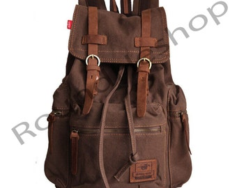 Durable Canvas bag laptop book bag travel school backpack