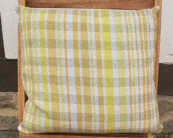 Pillow case hand-woven, Cushion cover, grey white plain yellow, 40 x 40 cm, 60% cotton - 40 lines, modern, country-style, single-piece