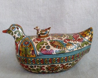 """Russian folk art.Wooden Jewellery Box in the form of a """"Duck""""Vintage style"""
