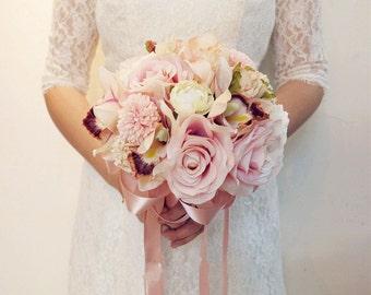Wedding Bouquet Bridal Bridesmaid Aartificial Flower Roses Posy Handmade Decor