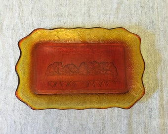 Vintage Indiana Glass Amberina Last Supper Bread Plate, The Lords Supper