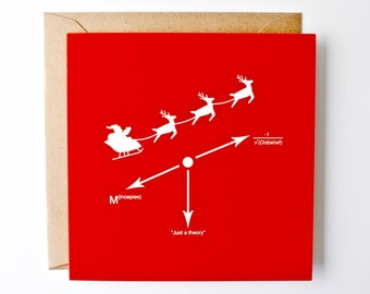 Science xmas card, physics, force calculation santa and reindeer, unique christmas season card