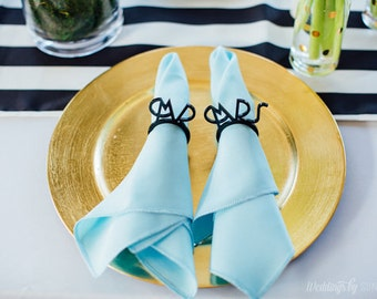 Mr and Mrs Bride and Groom Napkin Rings