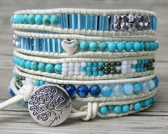 Turquoise bracelet 5 wraps bracelet Leather wrap bracelet Gypsy wrap bracelet beaded bohemian bracelet agate bracelet blue bracelet  SL-0227