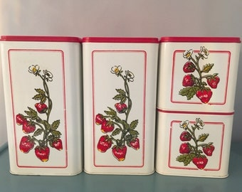 Vintage Ekco White with Strawberries Canister set