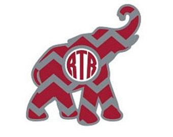 ELEPHANT Monogram Decal, IPhone Decal, Notebook Decal, Binder Decal, Custom Decal, Monogram Decal, Car Decal, Alabama, Bama, iron on, laptop