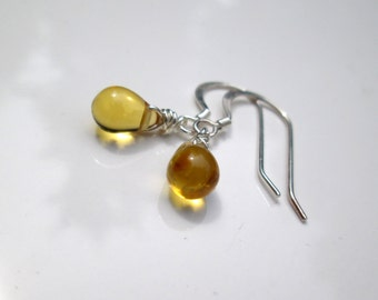 Tiny Yellow Czech Glass Earrings, Honey Dangle Earrings, Pale Yellow Sterling Silver Drop Earrings, Mom Gift, Earrings under 15