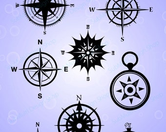 Compass Silhouette / compass svg files / High Quality / clipart / vector / navigator silhouette / Silhouette Studio & Cricut, Vector Art