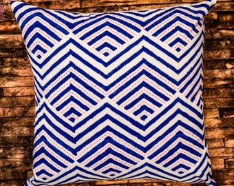 Blue Zig Zag Block Print Kantha Pillow Cover
