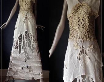 antique cut out lace maxi dress-----s