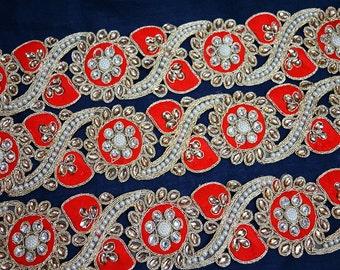Trimmings, Gold Kundan Lace, Decorative Trim, Sari Border Trim by the Yard, Metallic Ribbon, Embellishment / Border / Ribbon, Indian trim
