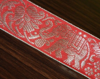 Silver elephant parade red jacquard trim by 2 yard