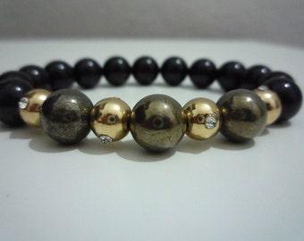 Pyrite and black tourmaline bracelet,Gemstone bracelet,Woman gemstone bracelet,Tourmaline,Blck Tourmaline bracelet,gift,Gift for her