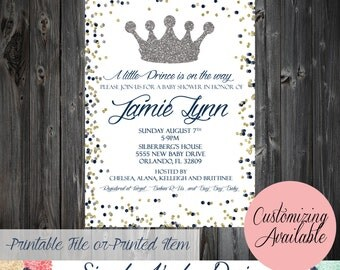 Prince Baby Shower Invitation - Blue, Silver and Gold Prince Baby Shower Invitation