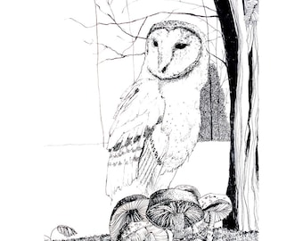 Owl in the Night Forest ART Print A5