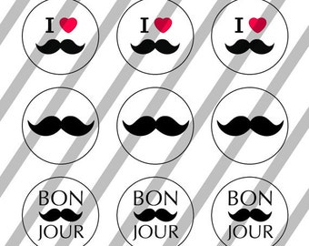 Moustache Mania digital collage sheet 4x6 for bottlecaps - 1 inch - INSTANT DOWNLOAD