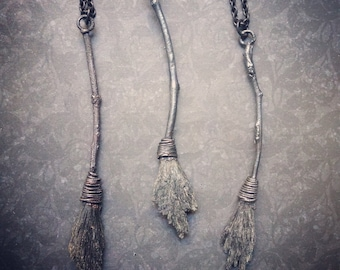 The Witches Besom | Black Kyanite | Witch Broom Necklace