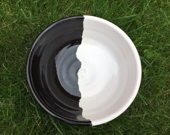 Black and White Dog Bowl/ Ceramic Dog Bowl/ Pet Feeder / Handmade Gift