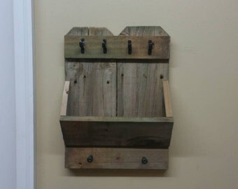 Rustic reclaimed wood shelf hat rack/ key holder/ scarf rack/ mail holder for entry way or mudroom