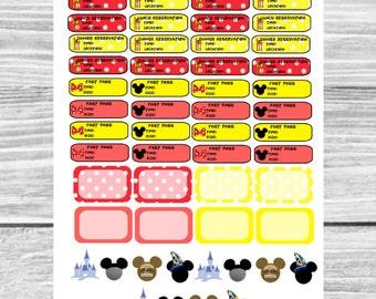Disney Planner Sticker: Fast Pass, dinner reservations, breakfast reservations, lunch reservations, half boxes, Epcot, Animal Kingdom
