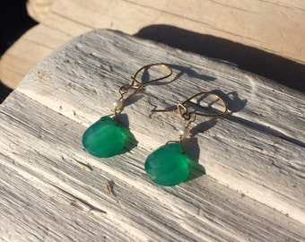 Emerald and Peal Gold Earrings
