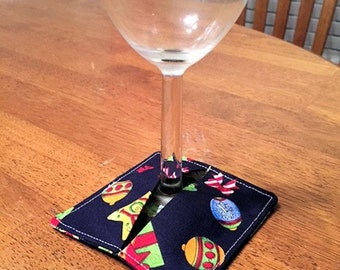 Christmas Wine Glass Coasters/Sleeves - Handmade Home Accent - Set of 4