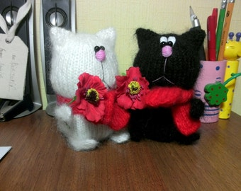 Cat with a flower, handmade, stuffed animals, and perfect gift