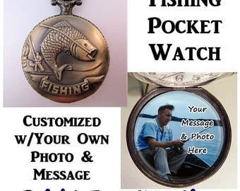 """Personalized Photo & Message Fishing Fisherman Fish Pocket Watch Custom Made w/31"""" Chain OR 14"""" Belt Chain Father's Day Gift Vintage Style"""