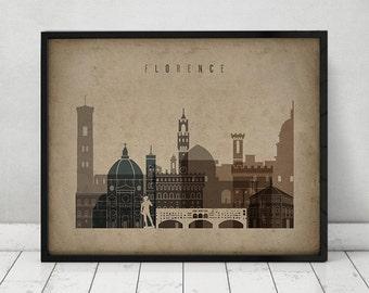 Florence print Poster Wall art, Italy cityscape Firenze skyline, City poster, Vintage style print, Fine art, Gift, Home Decor ArtPrintsVicky