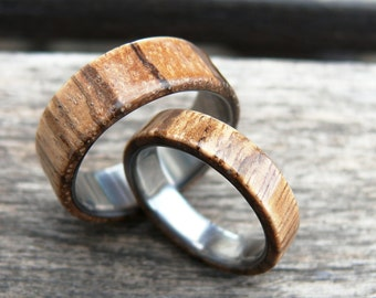 Titanium Ring with Zebrano Wood Wedding Band Set, Two Wedding Ring, Engagement Ring, Mens Ring, Titanium Ring, Gift with Engraving