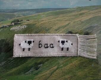 Cross Stitched Mini Sheep Bookmark