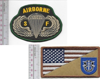Green Beret US Army 19th Special Forces Group Airborne & SF Parachutist Wings