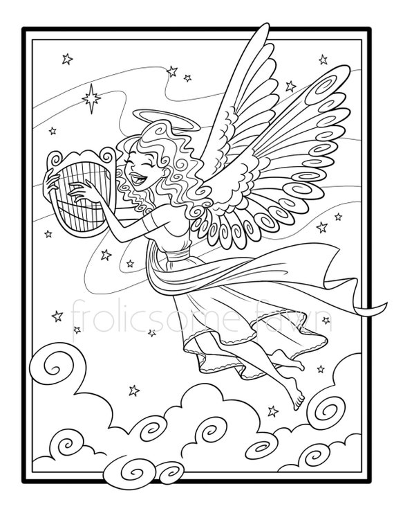 angel with harp coloring pages sketch coloring page