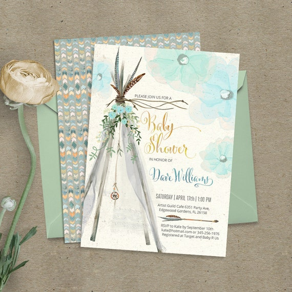 teepee bohemian baby shower invitation digital files feathers tipi