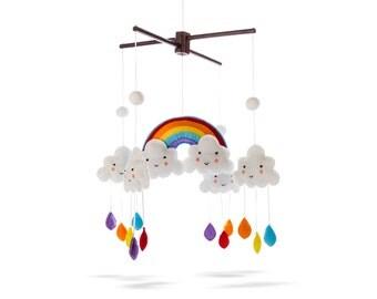 Marmelada Rainbow Mobile Clouds Raindrops Nursery Baby Room Bedtime Night Décor