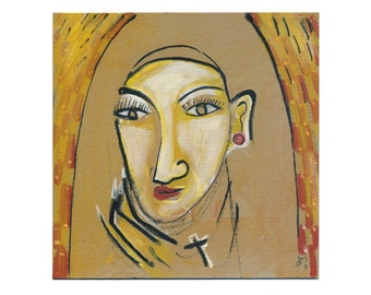 "Nun 20/20 cm Portrait image - women - people - ""Holy"" - painting abstract and modern art"