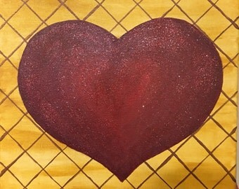 Heart on trellis acrylic painting original
