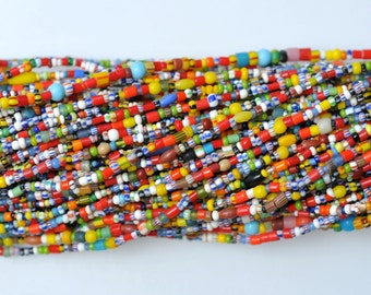 Long Strand of 3mm Multicolored Christmas Beads - African Trade Beads - 44 inch Strand