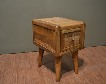 Rustic Solid wood Retro Mid Century Style End Table / Nightstand / Chair side table