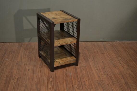 Industrial Wood And Metal Nightstand: Rustic Modern Industrial Style Metal & Solid Pine Wood Chair
