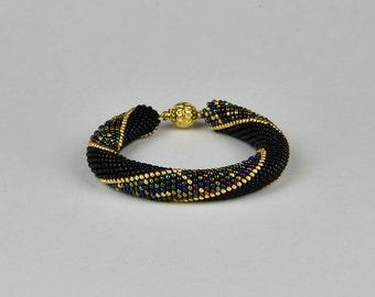 arabian nigth - Beaded Bracelet Bead Crochet Bracelet  black gold metallic Multi-Colored Colorful Beadwork Jewelry