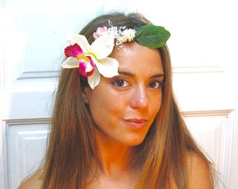 Headdress,flower,orchyd,green,white,pink,ivory,headband,halo,crown,bridal,wedding,boho,chic,elegant,headpiece,woodland,goddess,HAIR COMB