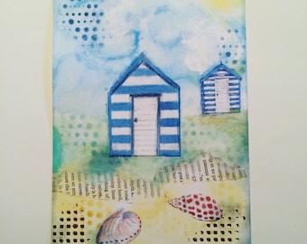 Mixed media art print - beach hut scene
