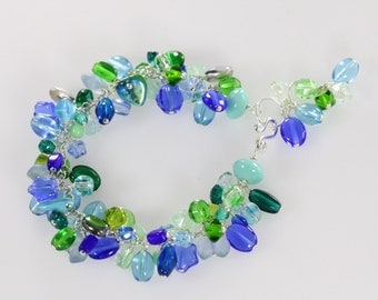 Aqua Czech Glass Beads Wire Wrapped Cluster Bracelet, Ocean Tone Bracelet
